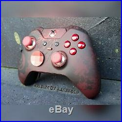(1) XBOX ONE ELITE WIRELESS CONTROLLER CUSTOM GEARS OF WAR KIT WithRED LED
