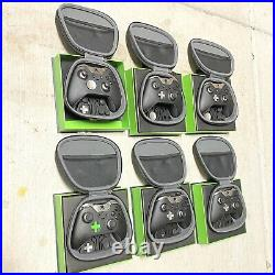 6 Xbox One Elite Controllers 1 Model 1698 BROKEN with Original Packaging & Case