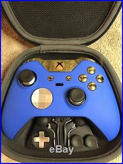 Elite Xbox One 1 Controller Custom BLUE SHELL, GOLD Led, Buttons, ABXY