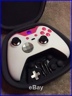 Elite Xbox One 1 Controller -Custom WHITE SHELL, PINK Led, Buttons, ABXY Letters