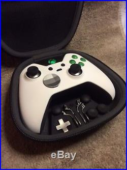 Elite Xbox One 1 Controller Custom WHITE Shell, GREEN Led, Buttons, ABXY Letters