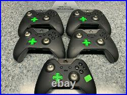 Lot of 5x Microsoft Xbox One Elite Black Controllers AS IS Parts or Repair 1698