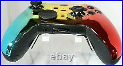 Microsoft Xbox One Elite Series 2 Rapid Fire Modded Remote Chrome Grn/Gld/Red