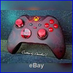 XBOX ONE ELITE WIRELESS CONTROLLER CUSTOM GEARS OF WAR With RED SCUF RED LED