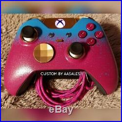 XBOX ONE ELITE WIRELESS CONTROLLER CUSTOM OMBRE TEXTURED WithPINK/PUR LED