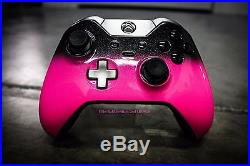 Xbox One Elite Controller- Custom Painted- Pink Bubble Gum with Black Fade