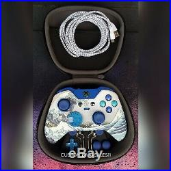 Xbox One Elite Wireless Controller Custom Water Wave With Scuf Blue Led